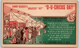 """Vintage Song Music Advertising Postcard """" O - U Circus Day """" Harry Becker C1910s"""