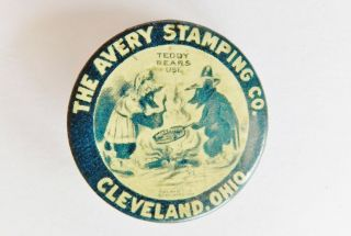 Rare Early Pin Avery Stamping Co Teddy Bears Roosevelt Cleveland Oh Advertising