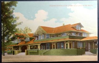Postcard Houston Country Club - Advertising Railroads Chamber Of Commerce Texas