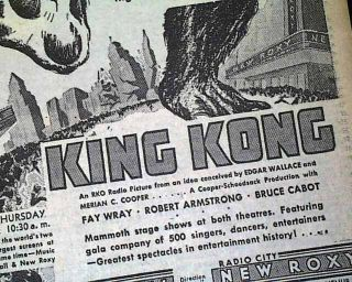 Earliest King Kong Movie Film Opening Day Advertisement 1933 Ny Times Newspaper