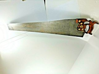 Antique H.  Disston D - 8 Hand Saw With Thumb Hole Handle,  28 ,  6 Pt.