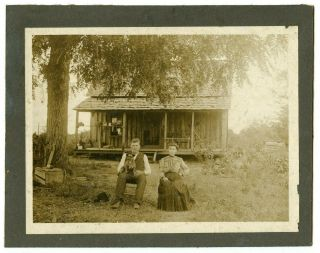 Cabinet Card Husband And Young Wife With Dog In Lap Homestead Circa Early 1900