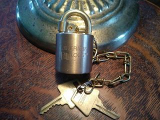 Vintage Us Military American High Security Padlock With (2) Keys