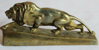 Vintage Brass Lion Advertising Paper Weight - Henninger Funeral Home Reading Pa.