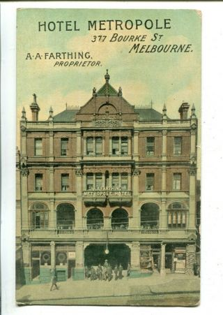 Advertising Hotel Metropole Melbourne Niven C.  1908