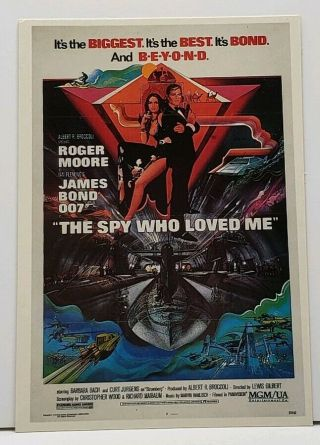 Roger Moore James Bond 007 The Spy Who Loved Me Movie Poster Postcard G20