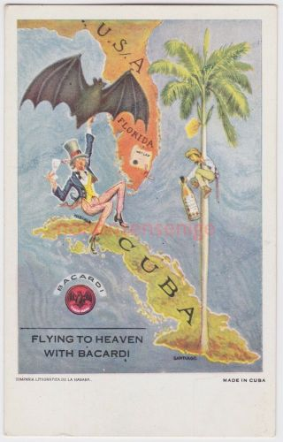 """Cuba """" Flying To Heaven With Bacardi """" Alcohol Advert Advertising Postcard - Cu02"""