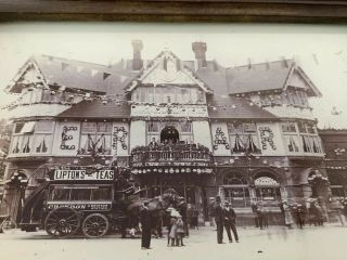 Antique Vintage Croydon Swan & Sugarloaf Hotel Glass Photograph Advertising
