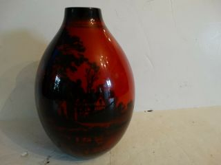 """Antique Royal Doulton Flambe Vase Scenic House Trees Etc Minty Red 7 """""""
