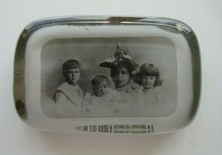 Vintage Mother Children Family Glass Portrait Advertising Paperweight Abrams