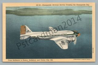Chesapeake Airways—aviation Linen Advertising—airlines Issued—vintage Maryland