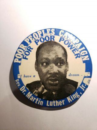1968 Martin Luther King Jr Pinback Button Poor Peoples Campaign Poor Power 31