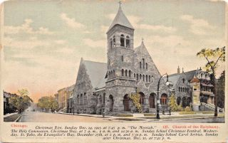 Chicago Il Church Of Epiphany Cristmas Eve Messiah Advertising Postcard 1900s