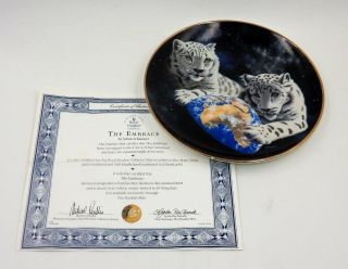 """Franklin Collectible Plate """" The Embrace """" White Tigers - Limited Edition"""