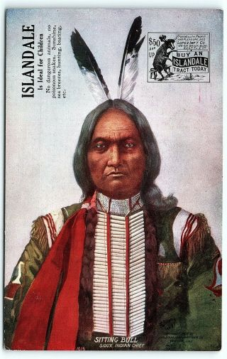 Vtg Postcard Antique Native American Sitting Bull Sioux Indian Advertising A5