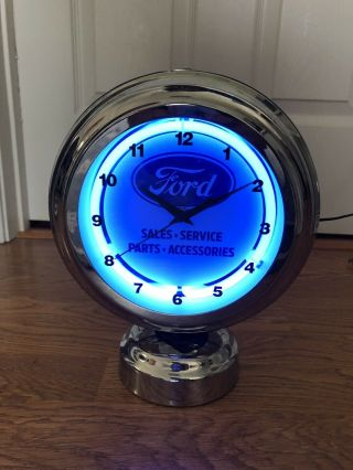 Ford Sales And Service Neon Double Sided Clock Advertising