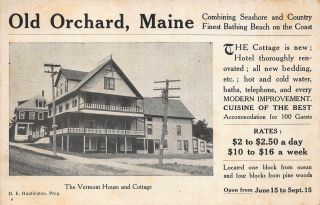 "Old Orchard Beach Me "" Vermont House Snd Cottage "" Advertising Tradecard"