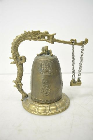 Antique Asian Bronze Dragon Incense Burner/bell W/ Buddhist Deities & Psalm