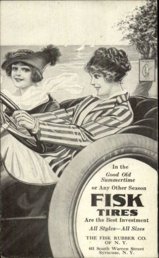 Fisk Tires - Women Driving Car Summer Fun - Syracuse Ny Postcard