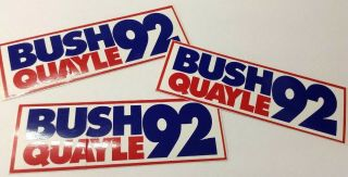Presidential Election 1992 Bush & Quayle Usa Advertisement Stickers Set Of 3