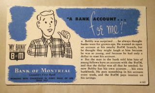 """Bank Of Montreal Advertisement """" A Bank Account For Me? """" My Bank (ca.  1950s - 60s)"""