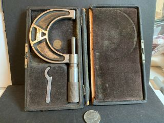 Vintage Almond Mfg.  Co.  Micrometer,  Ashburnham,  Ma In Case With Wrench