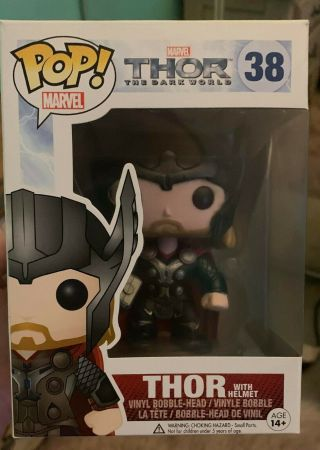 Funko Pop Marvel Thor The Dark World Thor With Helmet 38 Ht Exclusive,  Rare,