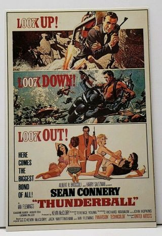 Sean Connery James Bond 007 Thunderball Movie Poster Postcard G20