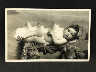 Antique Real Photo Postcard Cute Baby In A Giant Clam Shell,  Talma Melbourne