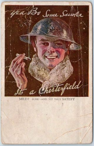 1918 World War I Chesterfield Cigarettes Advertising Postcard Soldier Creasing