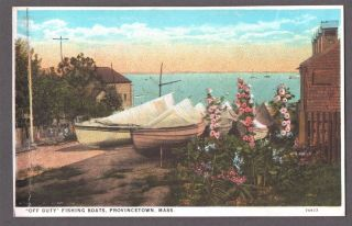 Vintage Litho Cape Cod Provincetown Massachusetts Fishing Boats Old Pc Postcard