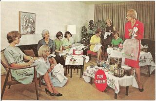 Women Attending Tri - Chem Party Advertising Postcard