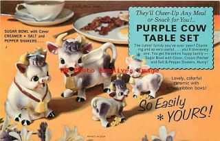 Advertising Postcard,  Merrimac Toy Show Promo,  Purple Cow Table Set