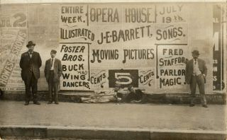 Rutland,  Vt Rppc Advertising Poster For Shows At The Opera House 1909