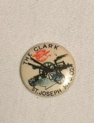 "1980 - 90s The Clark Plow Advertising 3/4 "" Whitehead & Hoag Celluloid Pinback"