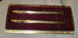 Rca Advertising Cross 1/20 12kt Gold Filled Ballpoint Pen And Pencil Set Vintage