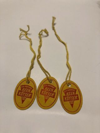 3 1930s E.  C.  Simmons Oval Keen Kutter Advertising Knife/tool Paper Tags