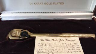 Vintage Mac Tools Limited Edition 24k Gold Plated 3/8 Inch Ratchet 1985