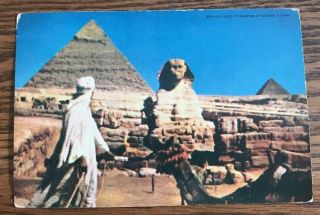 1952 Dear Doctor Pfizer Sphinx And Pyramids At Gizen,  Egypt Medical Ad Postcard