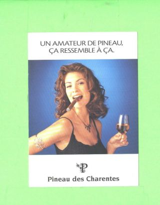 Oo Advertising Card Sexy Woman Beauty Pineau Des Charentes And Cigar