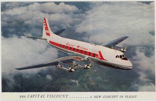 C1955 Capital Airlines Viscount Turbo - Prop Airliner Advertising Postcard