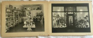 2 Vintage Photographs 1950s? Of Flower & Gift Shop On Mounts Advertising? Photos