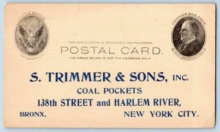 1907 S Trimmer & Sons Coal Pockets Bronx Nyc Price Inquiry Mckinley Postal Card