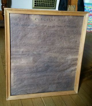 Vintage C1926 Declaration Of Independence Presented By John Hancock Insurance Co