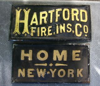 Old Tin Advertising Signs - Hartford Fire Ins.  Co.  & Home York