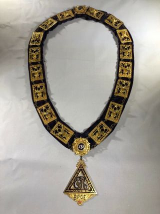 """Elks Lodge Bpoe Ceremonial Collar/ Necklace With """" Past Exalted Ruler """" Medal"""