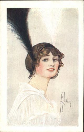 Shaftsbury The Pearl Girl Theatre Adv Woman Feathers Hair Postcard