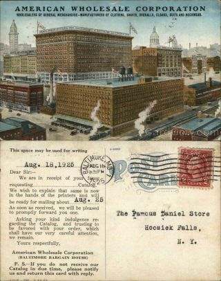 1925 Baltimore,  Md American Corporation Maryland Advertising Postcard