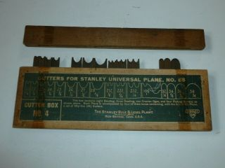 Vtg Box 4 Cutters For Stanley Universal Plane No.  55 W/ Stanley Sw Heart Logo