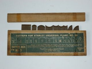 Vtg Box 3 Cutters For Stanley Universal Plane No.  55 W/ Stanley Sw Heart Logo
